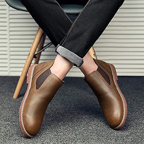 Vera Arrotondata Vintage Pelle Uomo In Pelle Bassi Ufficio Da Da Scarpe Calzature Per In Stivali Pelle Con Brown Vera Punta In wg8CYqZq