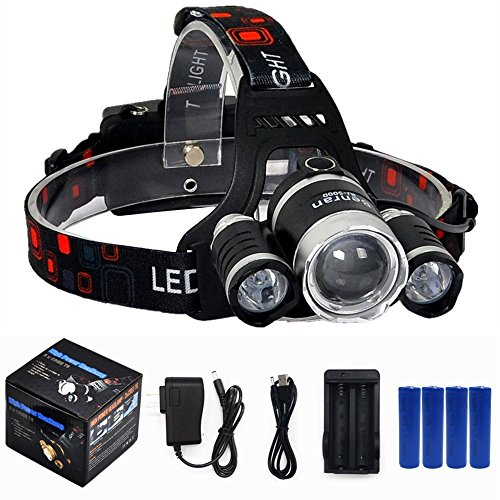 BenRan 6000Lm Headlamp IMPROVED LED,4 Light Modes Headlight,Zoom Flashlight with Rechargeable 18650 Battery & Dual Smart Charger,Hunting Helmet Light for Camping,Running (Silvery Include 4 Battery)