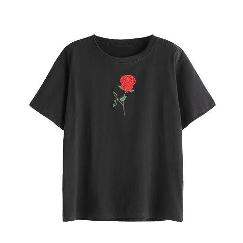 VENMO Las Mujeres Verano Rosas Bordado Blusa de Manga Corta Camiseta (Negro)