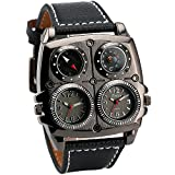 OULM Men's Sports Leisure Quartz Wristwatches Leather Strap Oversize Square Dials Compass Dual Time Display Japan Movement + BOX