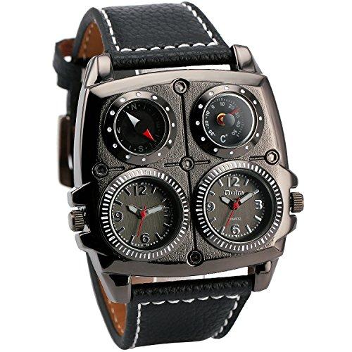 Oulm Mens Sports Leisure Quartz Wristwatches Leather Strap Oversize Square Dials Compass Dual Time Display Japan Movement   Box