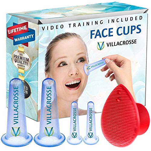 Silicone Face Cupping Set for Eye & Face - Facial Suction Cup Set w/Soft Face Cleansing Massage Brush & Online Video Training - Facial Cupping Set Silicone & Face Cupping Therapy Sets, Sky Blue