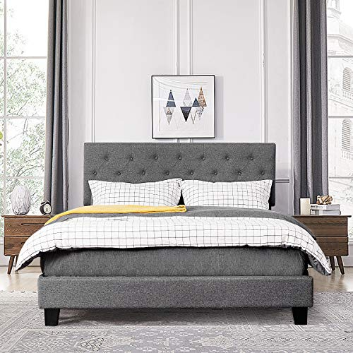 Giantex Shalini Upholstered Panel Platform Bed, Diamond Stitched Linen Panel Headboard, Metal Frame & 12 Strong Wooden Slat Support, Easy Assembly, Bed Mattress Foundation (Queen)