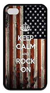 IMARTCASE iPhone 4S Case, Keep Calm And Rock On Durable for iPhone 4S/5 PC Black