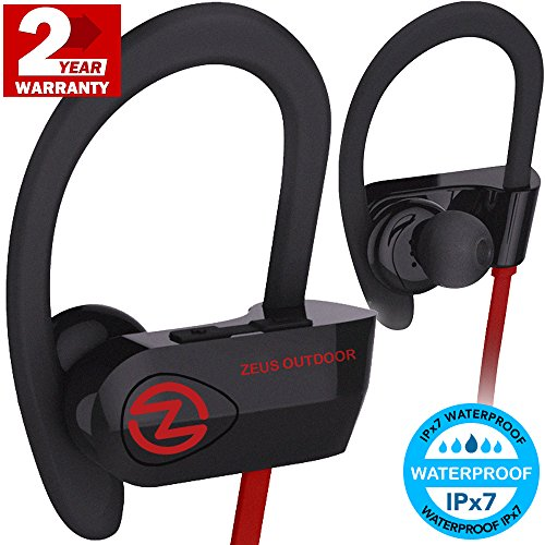 Bluetooth Headphones ZEUS OUTDOOR (Improved model 2017) Wireless Earbuds HD Stereo Waterproof IPX7 Sweatproof Sports Headphones with Mic Best Wireless Headphones for Running Sport Workout Headphones
