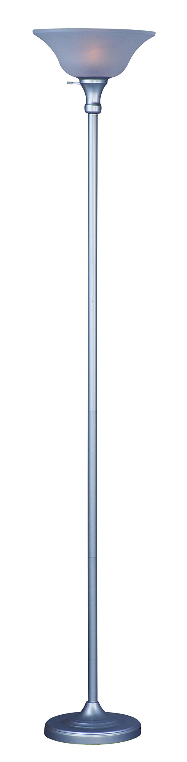 "Park Madison Lighting PMF-9171-60 150 Watt Incandescent Torchiere Floor Lamp, 72 inches High in Silver Finish with Frosted Shade, Transitional Design - Incandescent torcher floor lamp with thicker column and designer style frosted shade; 12"" diameter, 72"" tall Silver finish Transitional design - living-room-decor, living-room, floor-lamps - 51RzQ6zSK3L -"