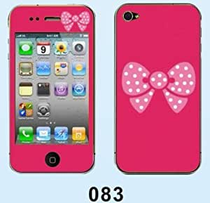 Big Dragonfly New Stylish Colorful Diamond Embossed Luminescent Vinyl Decal Stickers for iPhone 5/5S(Pink Bow with Polka Dot -Rose Red Background)