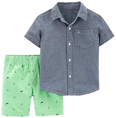 Carter's Boys 2-Piece Button-Front Top and Short Set (5T, Chambray/Blue Green)