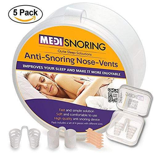 MediSnoring - PREMIUM STOP SNORING NOSE VENT SET: Advanced Anti Snore Set Of 5 Vents In 2 Sizes and 2 Styles In Storage Case +NEW BONUS - 5 Pieces of Nasal Strips + EXTRA Vent in A Travel Case.