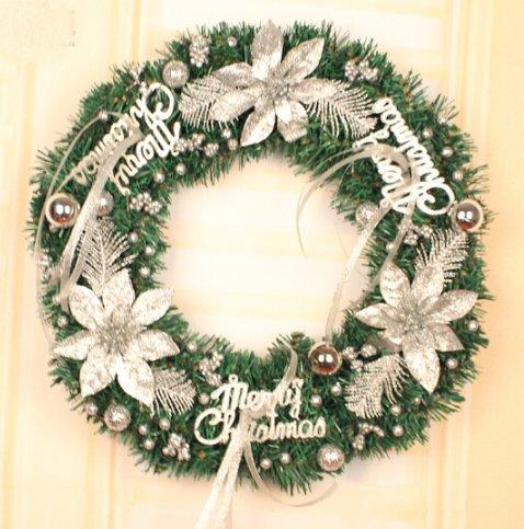 Christmas wreath Christmas decorations christmas ornaments Christmas tree Decorations Xmas hotel shop window Ornaments (80cm, Silver)
