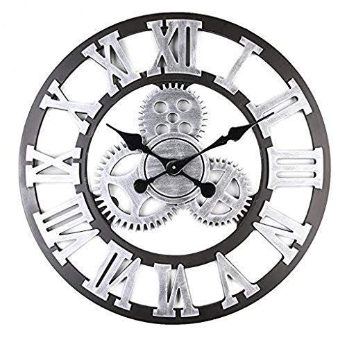 Price comparison product image Agmcee Vintage Not Cover Silence Wall Clock Shabby Wooden Large Round Non-Ticking Quiet Quartz Wall Clock Decoration Wall Art Clock 16-16inch, B, 4040CM / 1616Inch