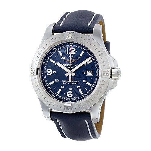Breitling Colt Blue Dial Blue Leather Mens Watch A7438811-C907BLLT
