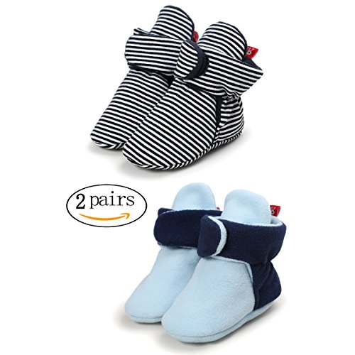 Tutoo Unisex-Baby Newborn Fleece Bootie Infant Boys Girls Winter Warm Cotton Slippers Soft First Walkers Shoes (5.1 inches(12-18 Months), 2 Pairs(Black+Blue)) (Black Walker Snap)
