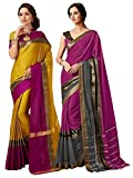 ELINA FASHION Pack of Two Sarees for Indian Women Cotton Art Silk Printed Weaving Border Saree (Multi 6)