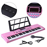 YAKOK 61 Key Kids Piano Keyboard Electronic Keyboard Piano with Microphone Musical Toy Gift for Kids Children 3-12 Years Old, USB and Batteries (Pink)