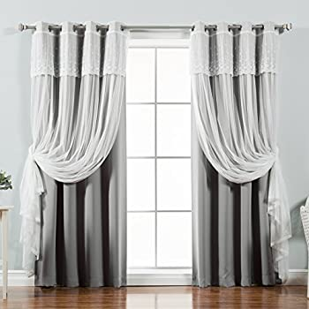 best home fashion mix u0026 match tulle sheer with attached valance u0026 solid blackout curtain set