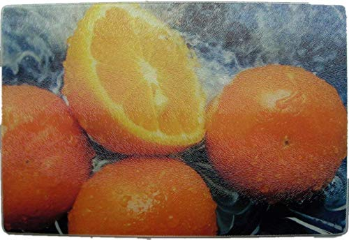 (12x8 Tempered Glass Cheese Cutting Board Kitchen Counter Art Bar Prep Autumn Color Orange Great Holiday Gift)