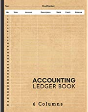 Accounting Ledger Book: Large Simple Accounting Ledger for Bookkeeping and Small Business Income Expense Account Recorder & Tracker logbook | 6 Columns: 120 Pages | High Quality Matte Finish Cover