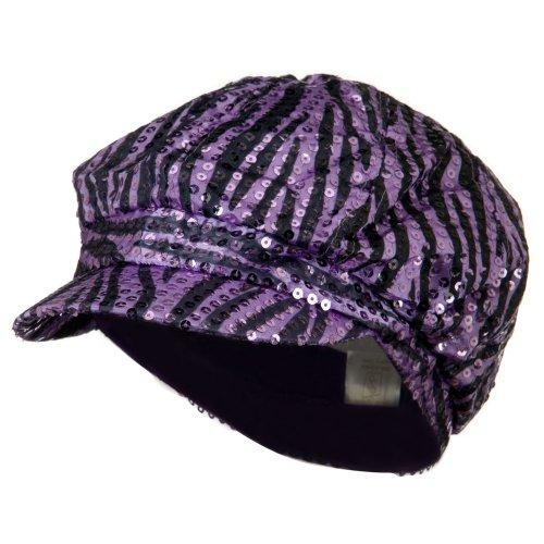 Zebra Newsboy - SS/Sophia Zebra Sequin Newsboy Cap - Purple Black M-L