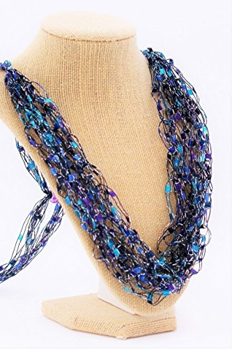 Dazzle Crochetlaces Adjustable LIGHTWEIGHT Crochet Necklace Scarf- Wearable Art Gift Idea