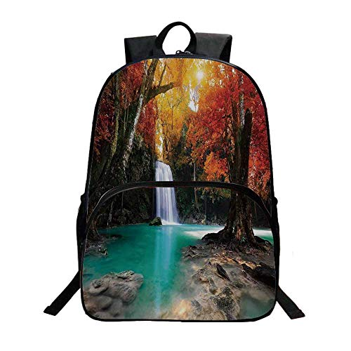 (Waterfall Fashionable Backpack,Deep Forest and Waterfall Runoff Autumn Fall Seasonal Forest Print for Boys,11.8