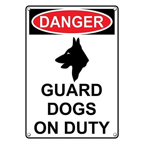 Weatherproof Plastic Vertical OSHA Danger Guard Dogs On Duty Sign with English Text and Symbol