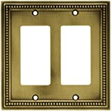 Brainerd 64769 Beaded Double Decorator Wall Plate/Switch Plate/Cover, Tumbled Antique Brass