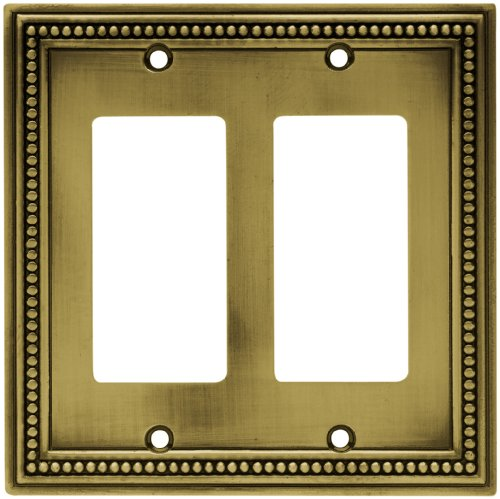 Brainerd 64769 Beaded Double Decorator Wall Plate/Switch Plate/Cover, Tumbled Antique Brass by Brainerd