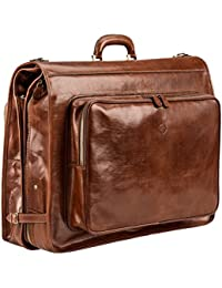 Maxwell Scott Men's Quality Leather Suit Carrier - Rovello Tan