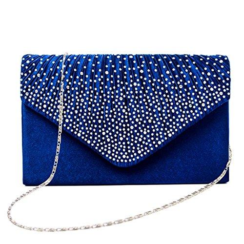 Sac Femmes Embrayage de Enveloppe la clouté Soirée iShine Épaule Mariage Royal Bleu Fête Pochette Strass Satin q8SWWd