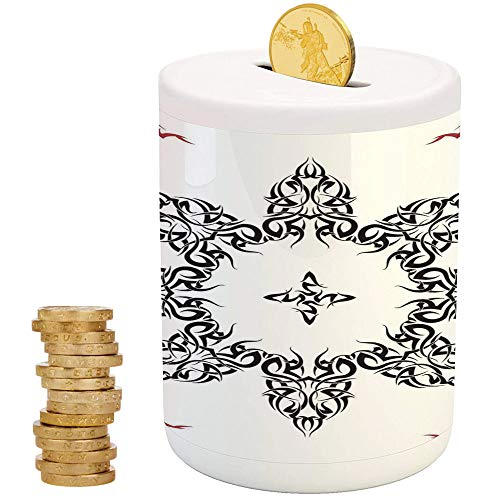 Tribal Decor,Money Bank for Kids,Printed Ceramic Coin Bank Money Box for Cash Saving,Ethnic Tattoo Circular Vector Art Leaves Like Frame Modern ()
