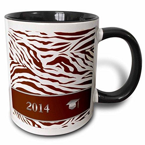3dRose Beverly Turner Graduation Design - 2014 Zebra Print with Graduation Cap, Coral - 15oz Two-Tone Black Mug (mug_180903_9)