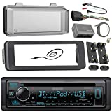 98-2013 Kenwood Harley Touring Install Adapter Dash Kit FLHT FLHTC FLHX CD MP3 AM/FM Radio CD Stereo with Bluetooth Streming Music with Steering Wheel Thumb Control Interface Enrock Antenna + Cover