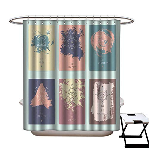 Inspired Peace Top Silk (warmfamily Funny Shower Curtain Set of Vector Geometric Alchemy Symbols with Inspired Phrases Shower CurtainW54 x L78)