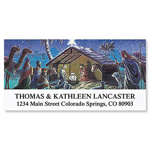 Nativity Personalized Christmas Return Address Labels- Set of 144, Large Self-Adhesive, Flat-Sheet Labels, by Colorful ()