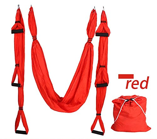 LiveZone Yoga Hammock Yoga Swing/Sling/Inversion Tool (Red)