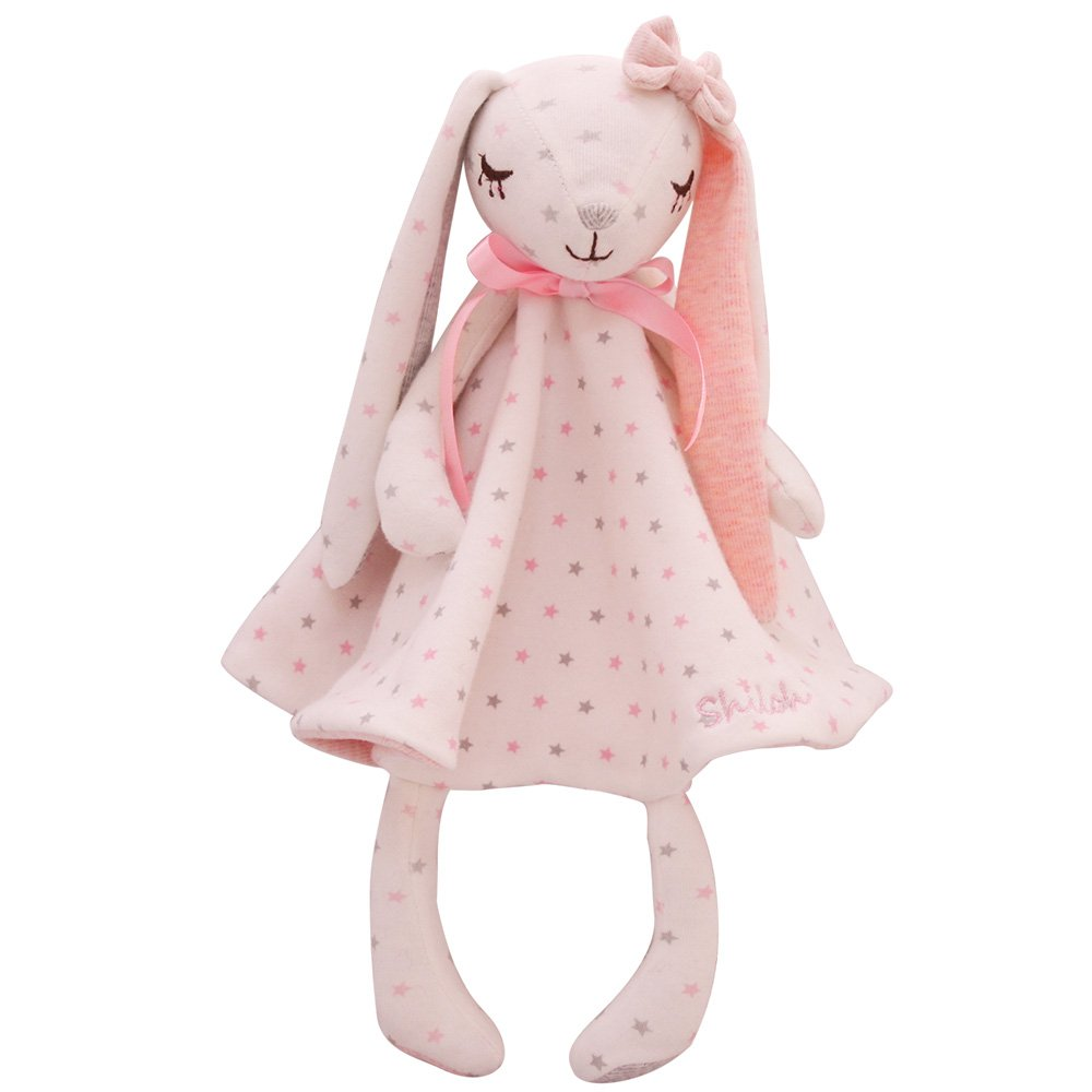 SHILOH Baby Plush Security Blanket Snuggle Comfort Gift 14 inch, Dancing Bunny (Blue) SANHE YIKEYIFAN TOY CO. LTD