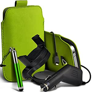 Nokia Lumia 720 premium protección PU ficha de extracción Slip In Pouch Pocket Cordón piel con lápiz óptico retráctil, un cargador de coche USB Micro 12v y 360 Sostenedor giratorio del parabrisas del coche cuna verde por Spyrox