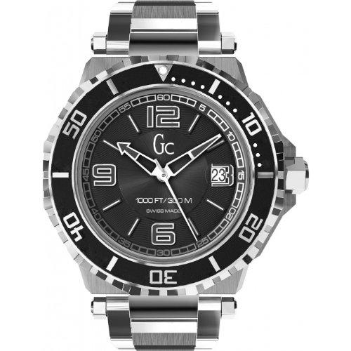 GUESS Men's Gc-3 AquaSport Black and Silver Timepiece