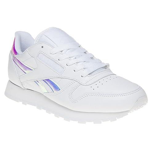 Reebok Classic Leather Iridescent Mujer Zapatillas Blanco: Amazon.es: Zapatos y complementos