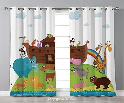 (Grommet Blackout Window Curtains Drapes [ Noahs Ark,Various Safe Animals Two of Every Kind Boarding Noahs Ark Clip Art Design Print,Multicolor ] for Living Room Bedroom Dorm Room Classroom Kitchen Caf)
