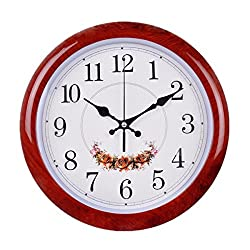Foxtop 12 Inch Silent Large Wall Clock Decorative Living Room Clock - Battery Operated Quartz Movement Wall Clock Wood-look Frame - Round Floral White Dial Wall Clocks