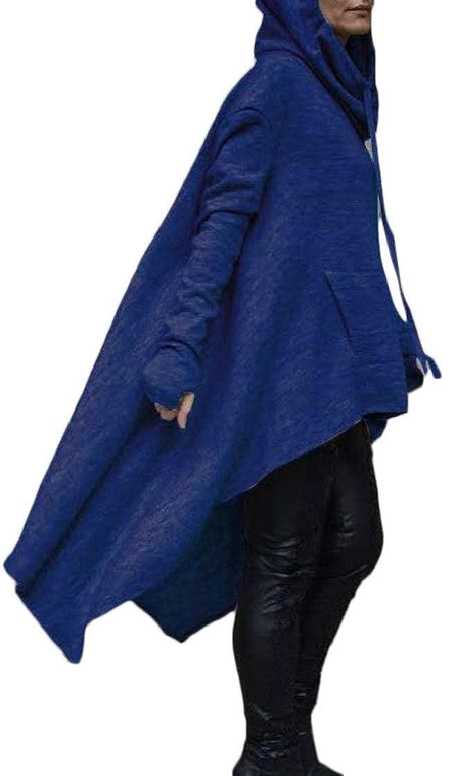 Joe Wenko Womens Gothic Thumb Hole Pocket Irregular Drawstring Pullover Hooded Sweatshirts