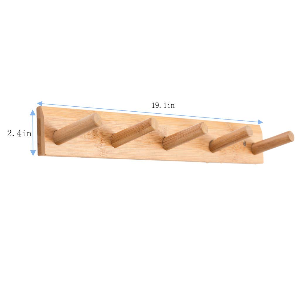 UPDD Modern Wall Mounted Coat and Hat Rack –Beautiful Pure Bamboo Entryway Hanger - Bamboo Bedroom and Bathroom Robe Racks - Durable, Classic Design ...