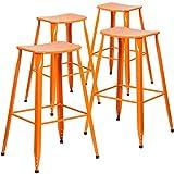 Flash Furniture 4 Pk. 30'' High Orange Metal Indoor-Outdoor Saddle Comfort Barstool