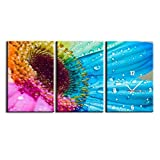3 Panel Wall Clock Art Still Life Flower Painting Pictures Print On Canvas Botanical The Picture for Home Modern Decoration Stretched by Wooden Frame,Ready to Hang,28X40cm