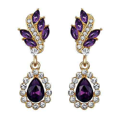 (EleQueen Women's Austrian Crystal Art Deco Tear Drop Dangle Earrings Pierced Gold-tone Purple)
