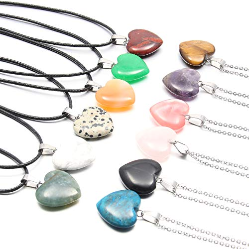 12Pieces Stone Pendants Water Drop Shape Beads Crystal Quartz Stone Charm with 18 Inch Cord Chain for Necklace Jewelry Making
