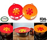pasta boil - Large Silicone Pan Lid Overflow Spill Stopper, Set of Two 13 Inch, Stove Top Protection, Boil Over Safeguard, BPA-Free Red & Orange