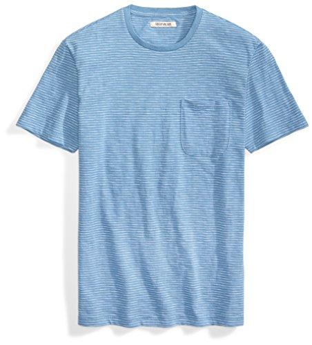 - Goodthreads Men's Lightweight Slub Crewneck Pocket T-Shirt, Moonlight Blue/White Stripe, XX-Large